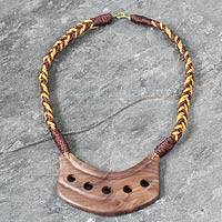 Wood pendant necklace, 'Woman of Sempe' - Wood pendant necklace