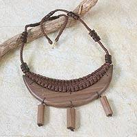 Wood pendant necklace, 'Accra Moonbeams' - African Wood Pendant Necklace