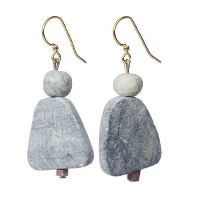 Soapstone dangle earrings, 'Woman of Law' - Soapstone Dangle Earrings