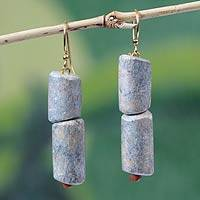 Soapstone dangle earrings, 'Strength in Numbers' - Soapstone dangle earrings