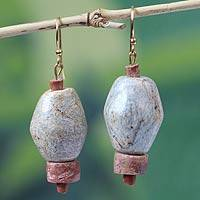 Soapstone dangle earrings, 'African Heritage' - Artisan Crafted Soapstone Dangle Earrings from Africa