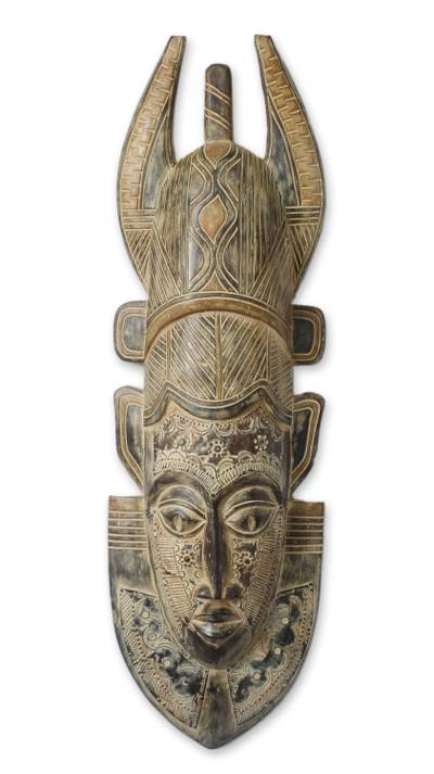 African wood mask, 'Power' - African Wood Mask