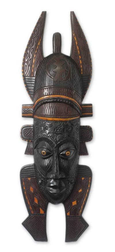 African wood mask, 'Malian Lady' - Fair Trade Wood Mask