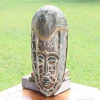 African wood mask, 'Egyptian Pharoah' - Fair Trade African Wood Mask