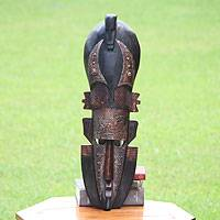 African wood mask, 'Chameleon' - Artisan Carved Ghanaian Wood Mask