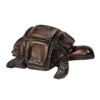 Ebony figurine, 'African Tortoise' - Hand Carved Wood Figurine