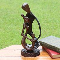 Ebony sculpture, 'Joyous Family Love' - Hand Made Family Wood Sculpture