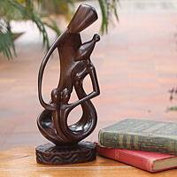 Ebony sculpture, 'Family of Four' - Unique Wood Sculpture from Africa