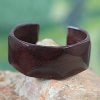 Leather cuff bracelet, 'Dasba in Dark Brown'