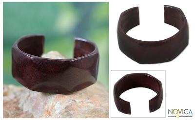 Leather cuff bracelet, 'Dasba in Dark Brown' - African Leather Cuff Bracelet