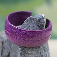 Leather cuff bracelet, 'Antiri in Purple' - African Leather Cuff Bracelet