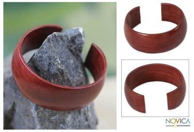 Leather cuff bracelet, 'Annula in Brown' - Leather cuff bracelet