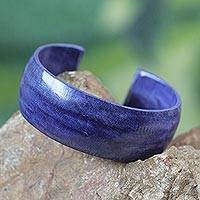 Leather cuff bracelet, 'Annula in Blue' - Blue Leather Cuff from Ghana