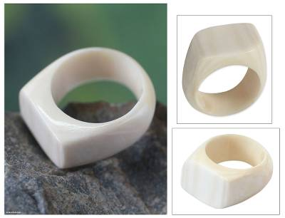 Bone cocktail ring, 'Eagle Honor' - Cow Bone Cocktail Ring