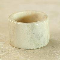 Bone band ring, 'Eagle Essence' - Artisan Crafted Bone Band Ring