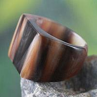 Bull horn cocktail ring, 'Eagle Honor'