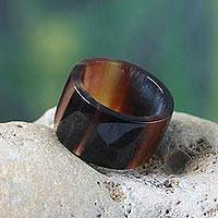 Men's bull horn band ring, 'Brown Eagle Essence'