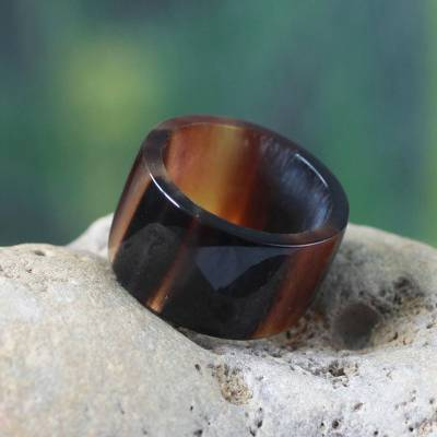 Mens bull horn band ring, Brown Eagle Essence
