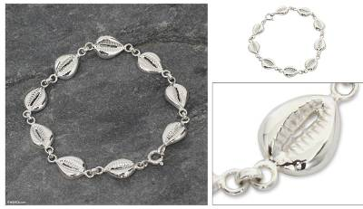 Sterling silver link bracelet, 'Abundant Cowrie' - Sterling Silver Link Bracelet from Africa