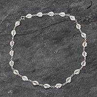 Sterling silver link necklace, 'Abundant Cowrie' - Sterling silver link necklace