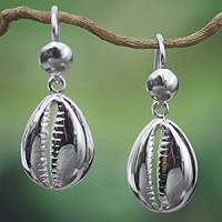 Sterling silver dangle earrings, 'Abundant Cowrie'