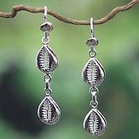 Sterling silver earrings, 'Double Abundant Cowrie' - Unique African Sterling Silver Dangle Earrings