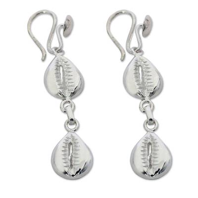 Sterling silver earrings, 'Double Abundant Cowrie' - Unique African Sterling Silver Dangle Earrings