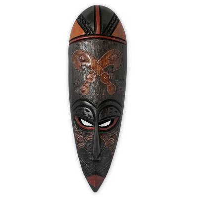 Ghanaian wood mask, 'Sword of War' - Fair Trade Wood Mask
