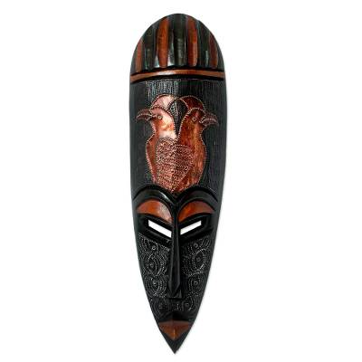 Ghanaian wood mask, 'Vigilant Birds' - African wood mask