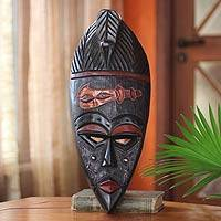 Ghanaian wood mask, 'African Sword' - Handmade African Wood Mask
