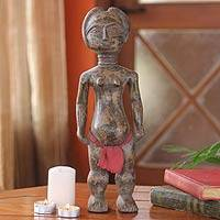 Wood sculpture, 'Ashanti Woman' - Wood sculpture