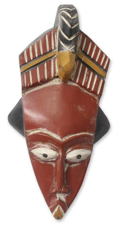 Ghanaian wood mask, 'Cola Nut Gatherer' - African wood mask