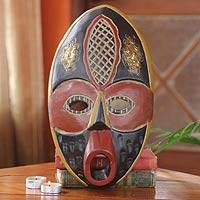 Ghanaian wood mask, 'Palace' - African wood mask