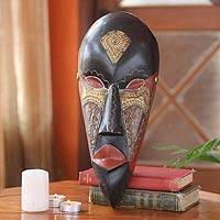 Ghanaian wood mask, 'Face of Beauty' - African wood mask