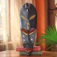 Ghanaian wood mask, 'Bird Flower' - African wood mask