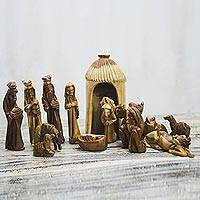 Wood nativity scene, 'Gift of the Ghanaian Magi' (14 piece) - Nativity Scene Wood Sculpture
