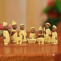 Wood nativity scene, 'Welcome Jesus' (set of 10)