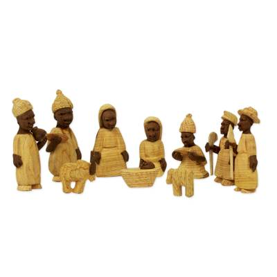 Wood nativity scene, 'Welcome Jesus' (set of 10) - African Themed Nativity Scene Crafted by Hand (Set of 10)