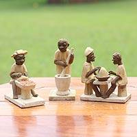 Wood statuettes, 'Old African Kitchen' (set of 3) - Hand Carved Wood African Sculptures (set of 3)