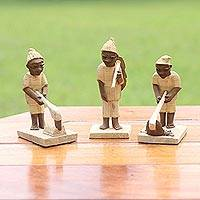 Wood figurines, 'Ghanaian Farmers' (set of 3)