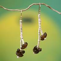 Ceramic beaded earrings, 'Yonko Pa Ye' - Ceramic beaded earrings