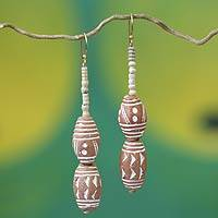 Ceramic beaded earrings, 'Queen of My Heart' - Ceramic beaded earrings