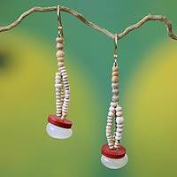 Agate and ceramic dangle earrings, 'Odopa' - Agate and ceramic dangle earrings