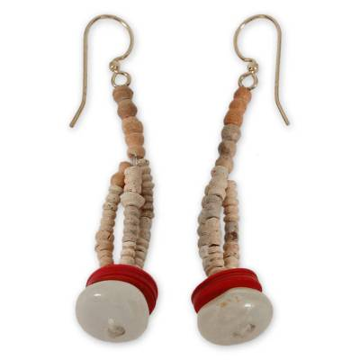 Agate and ceramic dangle earrings