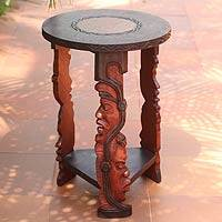 Wood accent table, 'Ancestral Faces' - Handcrafted Wood End Table