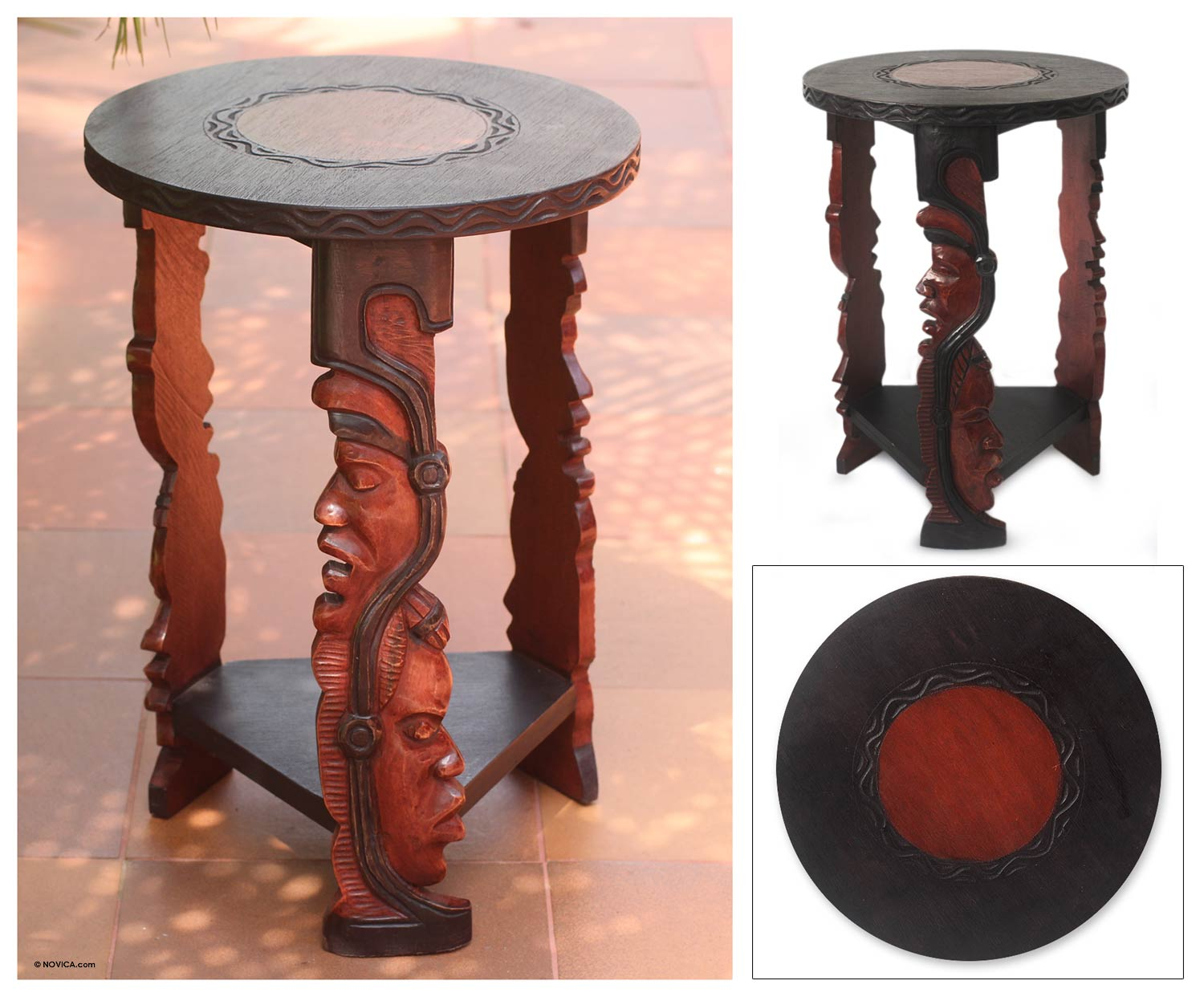 Handcrafted Wood End Table Ancestral Faces