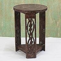 Wood accent table, 'I Fear Only God'