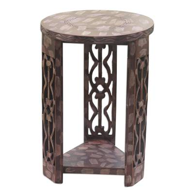 Wood side table, 'Keep and Preserve' - Wood side table