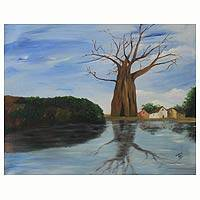 'Withered Tree Beside Water' - Original African Acrylic Painting