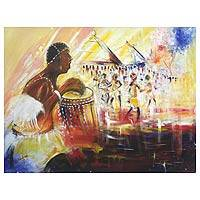 'Chief Drummer' (2012) - Expressionist Painting from Africa